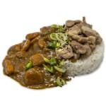Kare raisu de pollo: Bol de arroz con curry japonés un poco picante con pollo y verduras