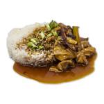 Teriyaki don de pollo: Bol de arroz con pollo en salsa teriyaki y verduras