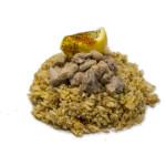Tori yakimeshi: Arroz salteado con pollo, huevo, soja, cebolleta, aceite de sésamo y aonori