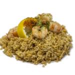 Ebi yakimeshi: Arroz salteado con langostinos, huevo, soja, aceite de sésamo y aonori