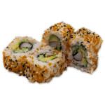California roll: Surimi, aguacate, pepino, tobiko naranja y sésamo (pack de 4 unidades)